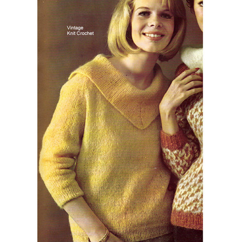 Collared Mohair Knitted Sweater Pattern Style 348-118