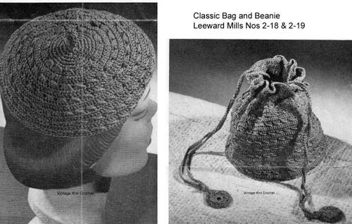 Nylon Crocheted beanie and bag pattern from Leeward.