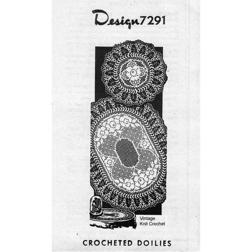 Alice Brooks 7291, Filet Crochet Rose Oval  Doily