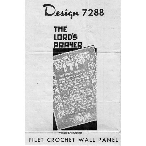 Filet Crochet Lord's Prayer Wall Panel, Mail Order 7288