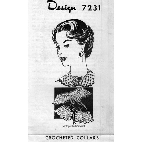Vintage Crochet Collars Pattern No 7231