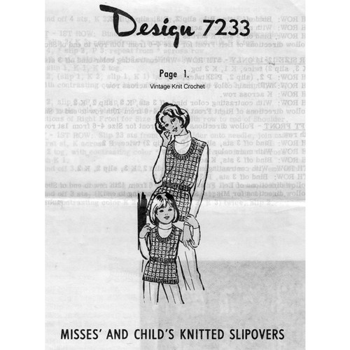 Knitted Tank Top Pattern Misses Childs, Mail Order 7233