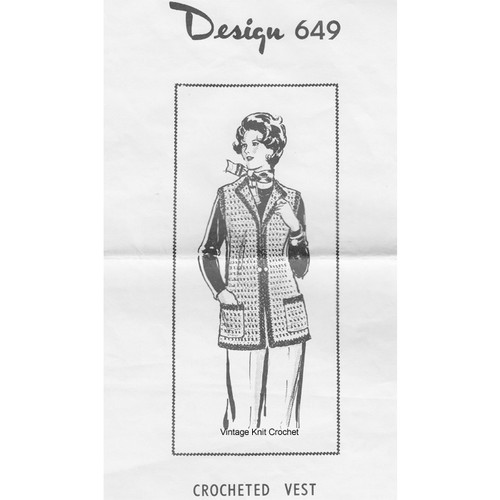 Womans Crochet Vest Pattern, Mail Order Design 649