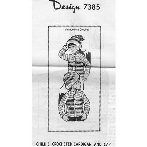 Childs Crochet Striped Cardigan Pattern Mail Order Design 7385