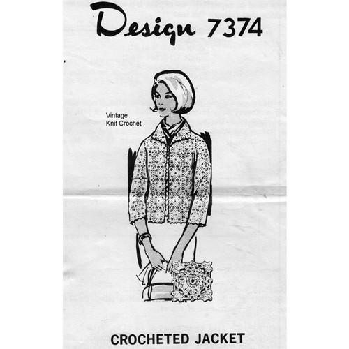 Easy Crochet Jacket Pattern, Mail Order 7374, in lace blocks.