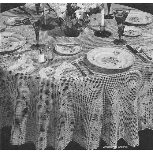 Round Filet Crocheted Tablecloth  Pattern, 80 inches