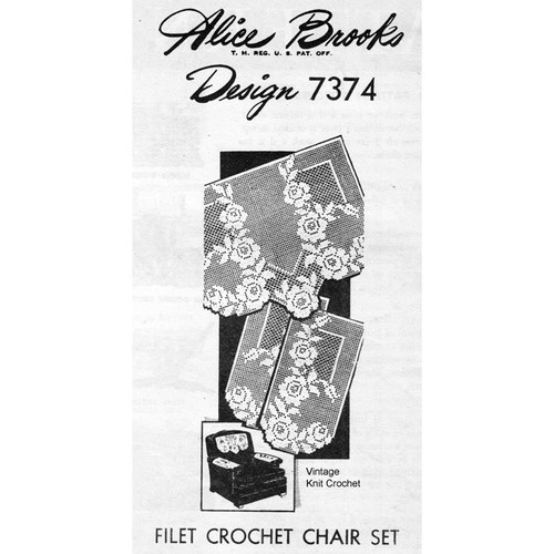 Mail Order Filet Crochet Rose Chair Doily Pattern, Design 7374