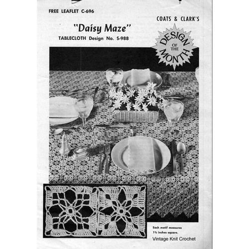 Vintage Crochet Tablecloth Pattern, Daisy Maze S-988