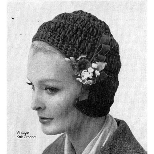 Vintage Crochet Helmet Pattern, Flower Trim