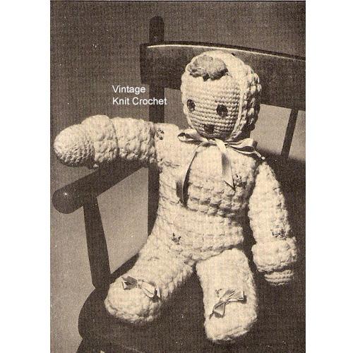 Large Crochet Doll Pattern Pc 4517 Vintage 1940s