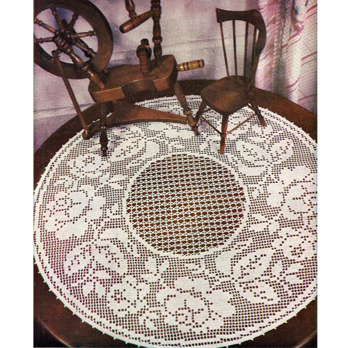 Round Rose Filet Crochet Centerpiece Doily Pattern