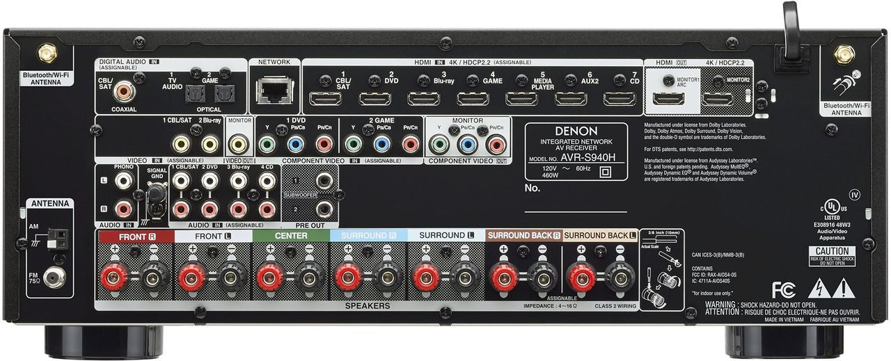 Denon® AVR-S940H 7.2 Channel High-Power 4K AV Receiver