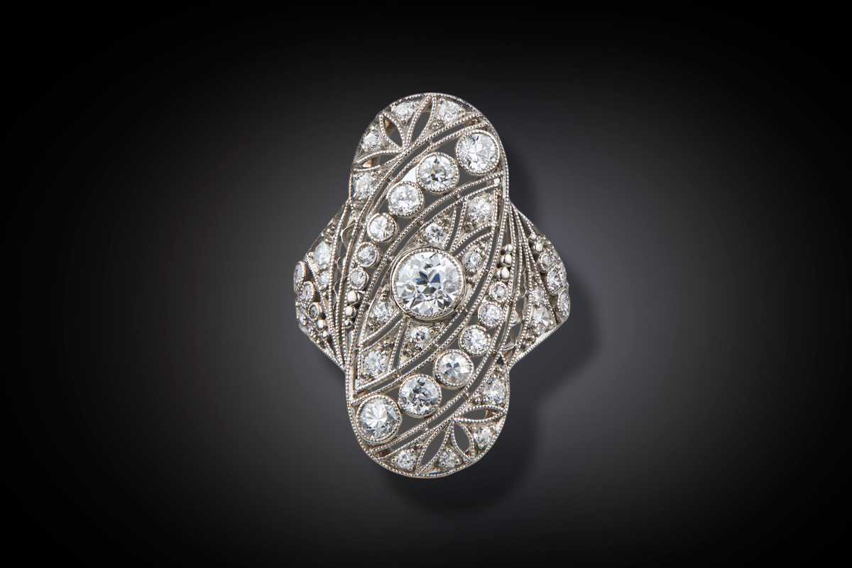 French Diamond Oval Plaque Ring.