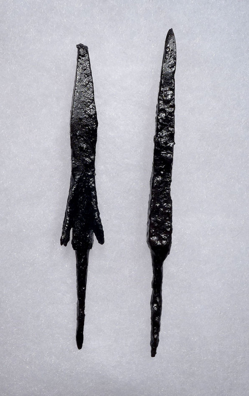 PREMIUM SET OF 2 LARGE BYZANTINE ROMAN ARMOR-PIERCING IRON ARROWHEADS *R176