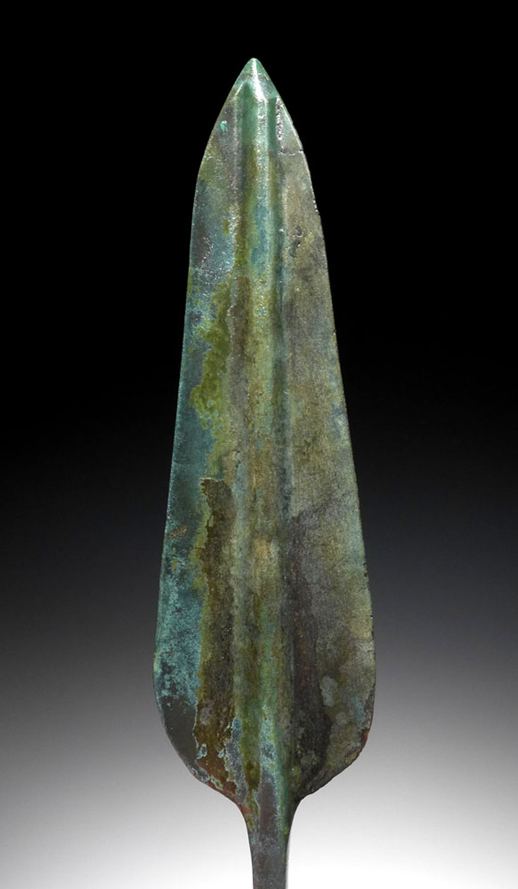 LARGE FINEST MUSEUM-CLASS ANCIENT BRONZE BARBED JAVELIN SPEARHEAD FROM THE NEAR EASTERN LURISTAN CULTURE *NE189