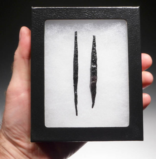 NE121 - SET OF 2 INTACT UNUSUALLY LONG IRON ARMOR-PIERCING PROJECTILE POINT ARROWHEADS FROM THE EURASIAN STEPPE NOMAD TRIBES