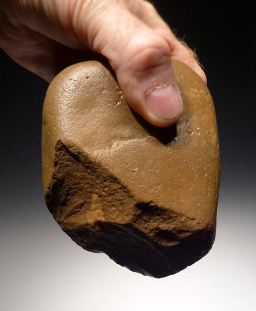 PB114 - SUPREME BONE-CRUSHING AFRICAN OLDOWAN PEBBLE CHOPPER AXE WITH FANTASTIC WIND SHEEN PATINA