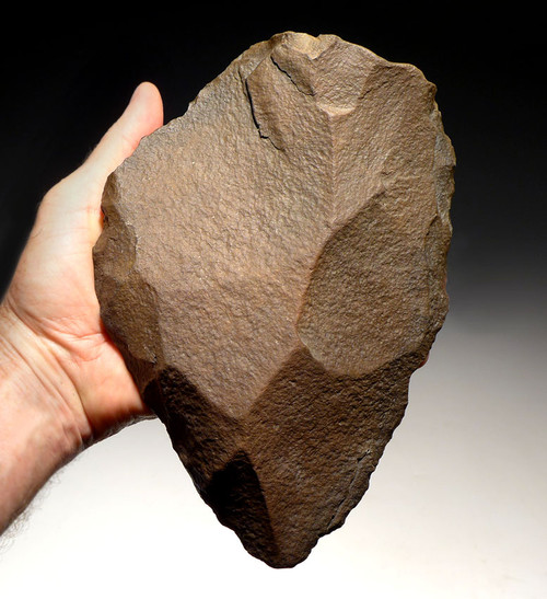 ACH227 - MASSIVE MUSEUM-GRADE ACHEULIAN HAND AXE MADE BY HOMO ERGASTER FOR LARGE GAME BUTCHERING FROM AFRICA