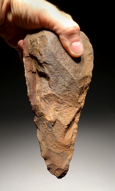 ACH228 - MUSEUM GRADE MASTERPIECE ACHEULIAN TRIHEDRAL PICK HAND AXE MADE BY HOMO ERECTUS (ERGASTER)