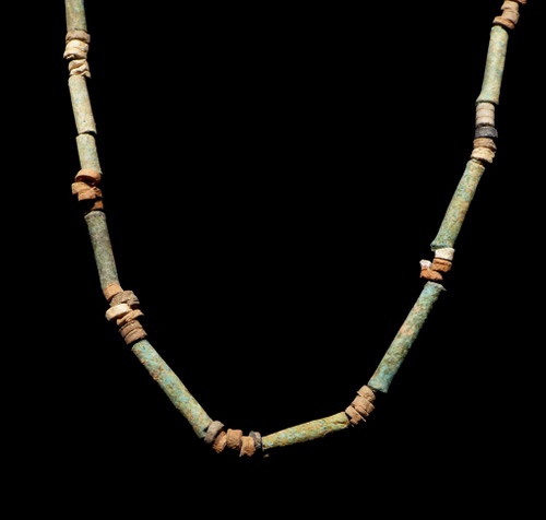 "NE164 - RARE GREEN FAIENCE 35"" WEARABLE AUTHENTIC ANCIENT EGYPTIAN ""MUMMY BEAD"" BEAD NECKLACE"