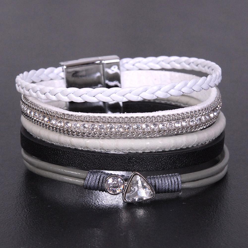 Grey, White and Black - Wrap Bracelet