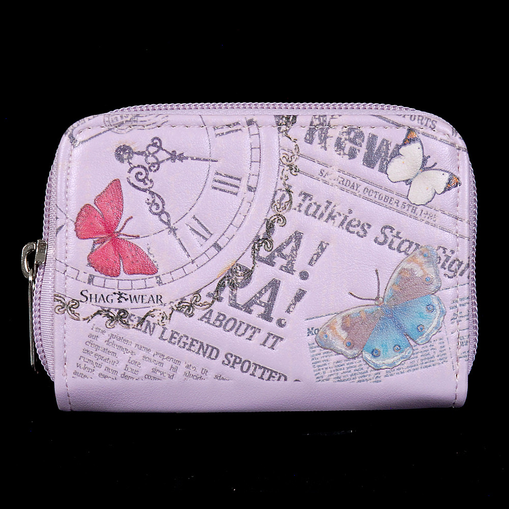 Vintage Butterfly Timepiece - Coin and Card Purse