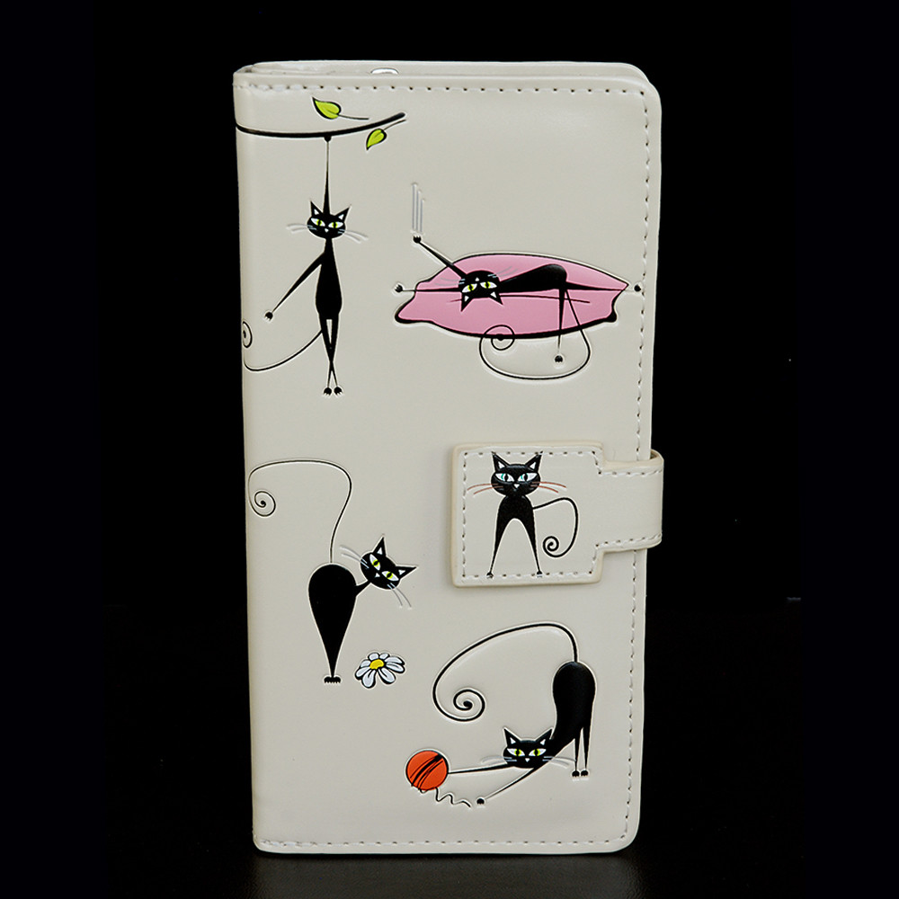 Crazy Cats - Large Zipper Wallet - Cream