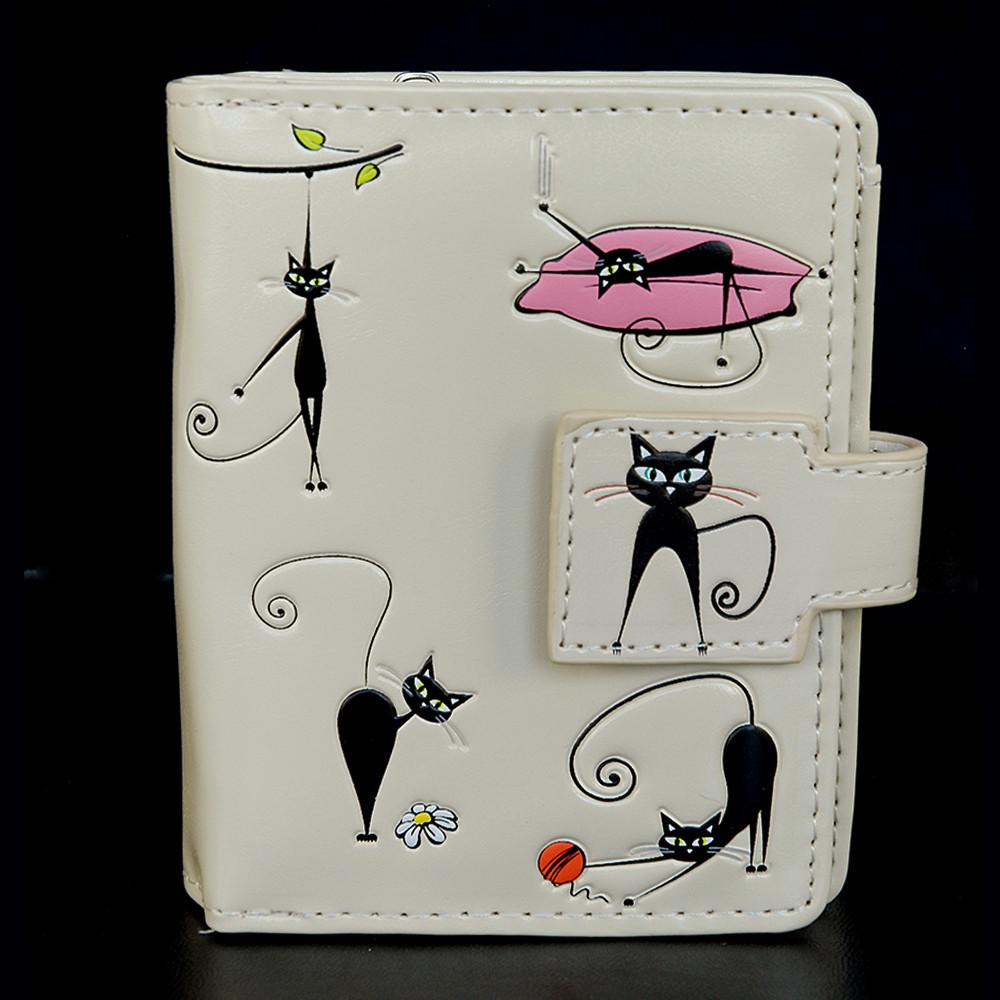Crazy Cats - Small Zipper Wallet - Cream
