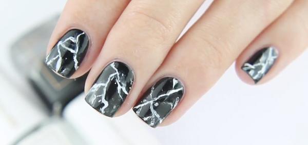 Black Marble Nail Art Tutorial By Kia Charlotta Beaudazzled