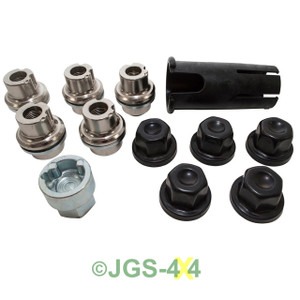 Land Rover Defender Black Alloy Wheel Locking Nut Set - DA3548