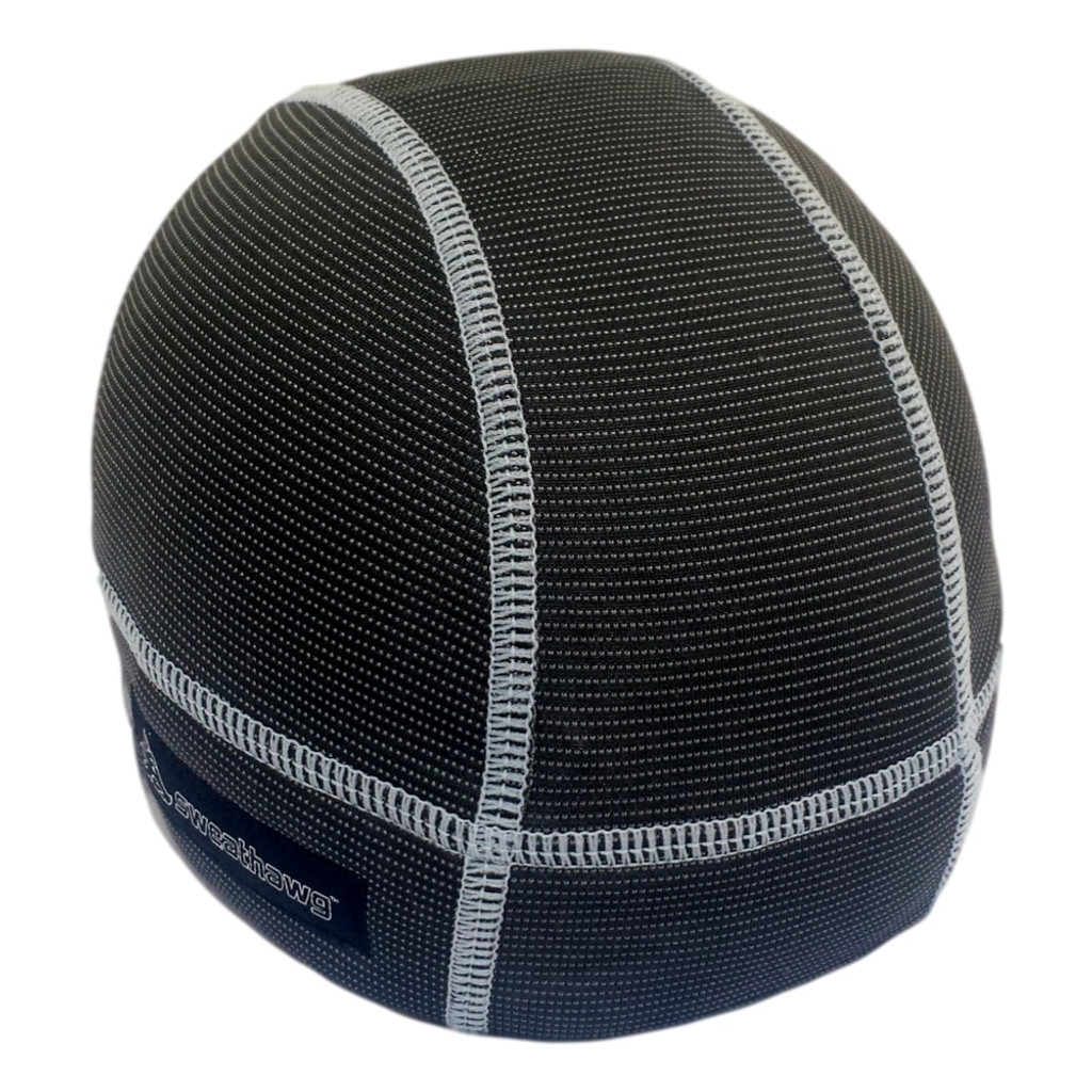 Skull cap in charcoal with grey stitching.  Absorbent brow with wicking bamboo ultra lightweight fabric keeps sweat from dripping in your eyes.