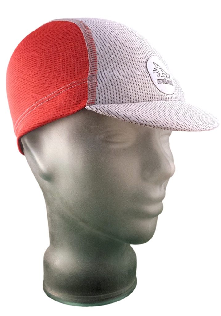 Cycling Cap in Firecracker Red and Ash White