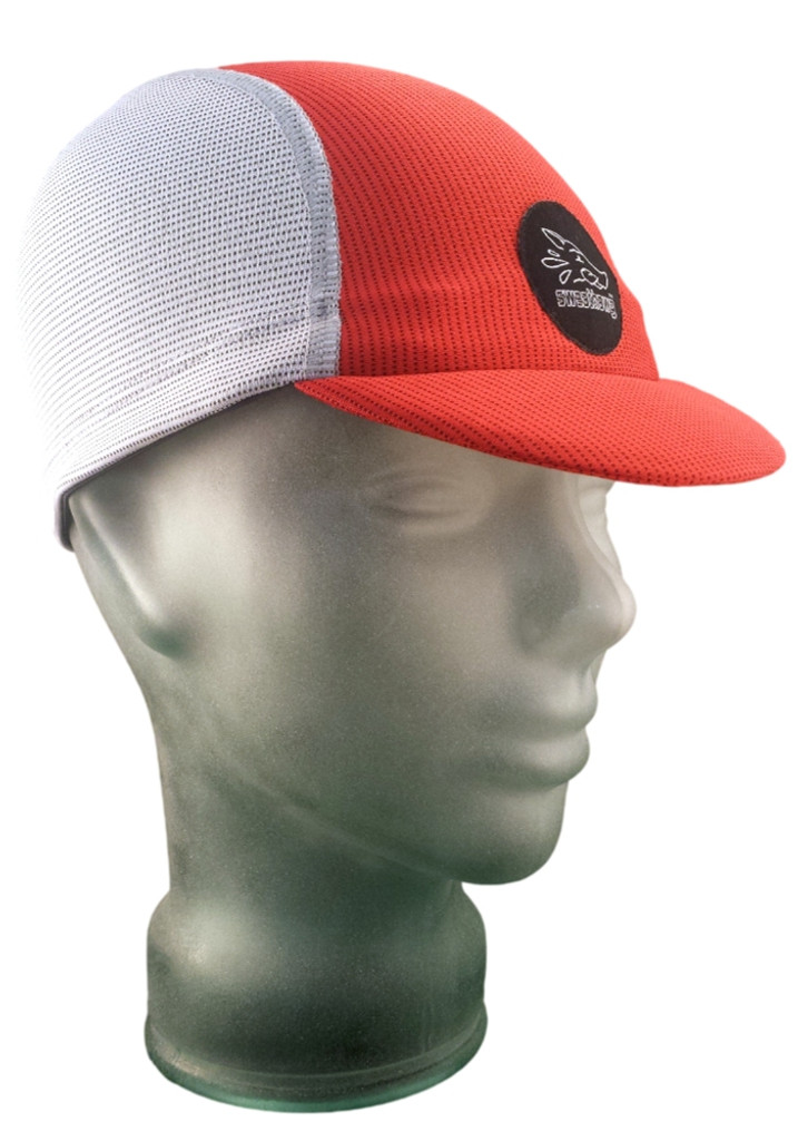 Cycling Cap in Ash White and Firecracker Red