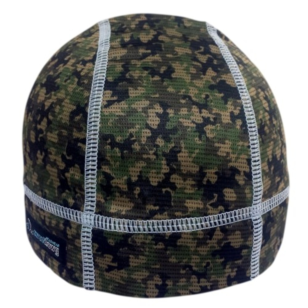 SweatHawg Skull cap in camo fabric with grey stitching.  Absorbent brow with wicking bamboo ultra lightweight fabric keeps sweat from dripping in your eyes.