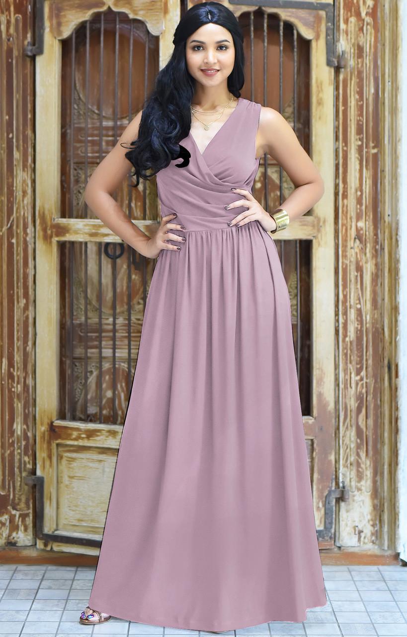 KOH KOH Sleeveless Bridesmaid Cocktail Maxi Dress - NT022 - KOH KOH ...