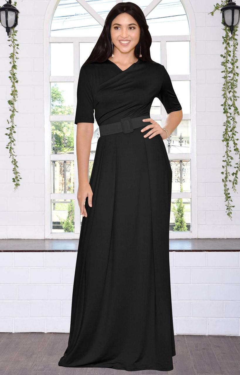 Long Dressy Short Sleeve Flowy Wrap Modest Day Maxi Dress Gown ...