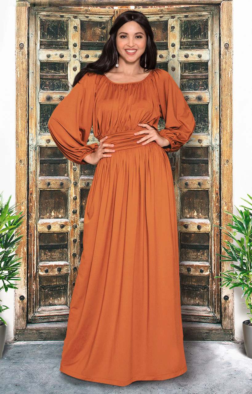 Long Peasant Casual Pleated Fall 3/4 Sleeve Maxi Dress Gown - NT103 ...