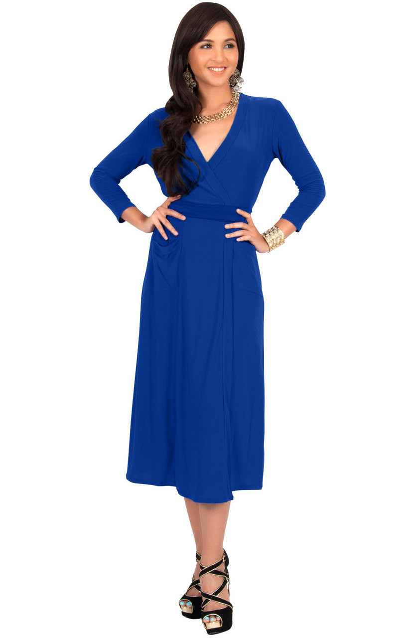 KOH KOH Casual Flowy Knee Length Modest Midi Dress - NT221 - KOH KOH ...