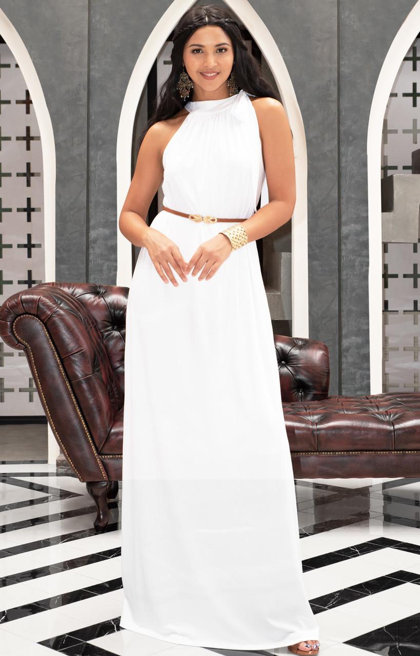 KOH KOH Sleeveless Summer Flowy Belted Maxi Dress - NT244 - KOH KOH ...