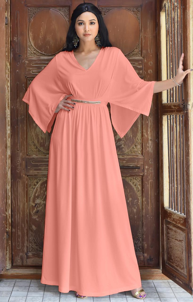 KOH KOH Long Flowy Evening Kaftan Maxi Dress Gown - NT320 - KOH KOH ...