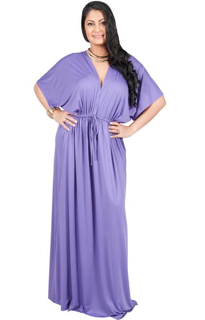 Av Plus Size V Neck Kimono Sleeve Maxi Dress Av002 Koh Koh
