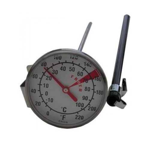 Large thermometer with dual dial 0-220°F & 0-100°C. Ideal for use with large 1.5 & 2 litre Milk Frothing Jugs.