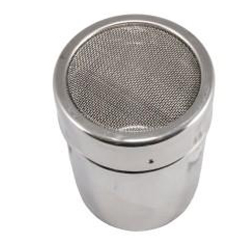 Mesh top shaker for adding a sprinkling of chocolate to cappuccinos and other hot drinks!