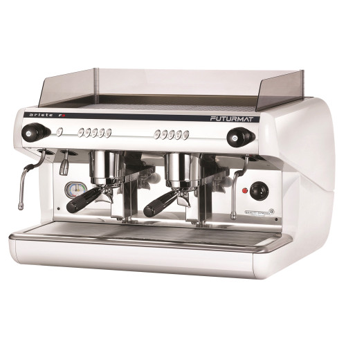 Superior Quality 2 Group Head Fully Automatic Coffee Machine, with digitally controlled functions. Quarter turn steam knobs for ease of use.