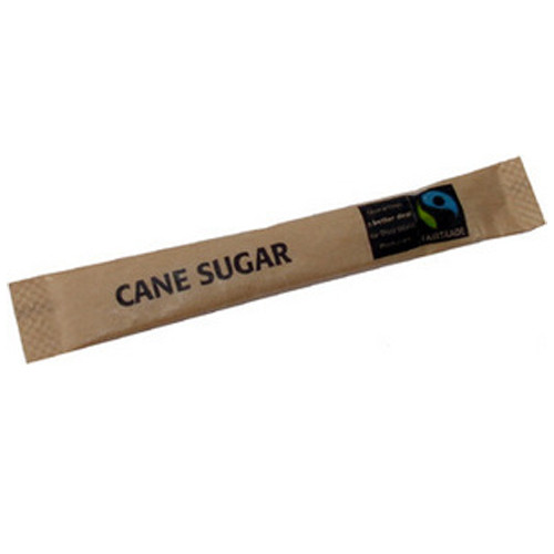 Fairtrade Brown Sugar Sticks filled with high quality granulated sugar and wrapped in easy to open packaging. 