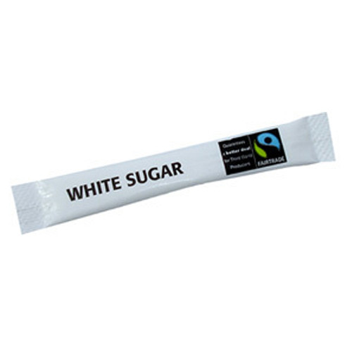 Fairtrade White Sugar Sticks filled with high quality granulated sugar and wrapped in easy to open packaging. 