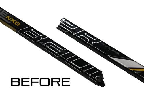 Junior Hockey Stick Repair System - Do-It-Yourself Stick Repair System from Bison Hockey Sticks- Before