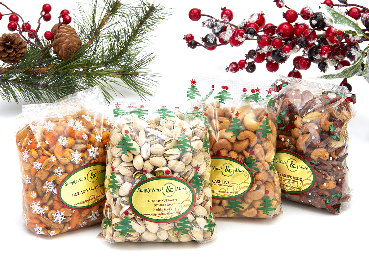 Simply Nuts & More holiday gift bags filled with nuts