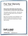 White illustration of the Flexabed Five Year Warranty Card. Click to download the pdf. details