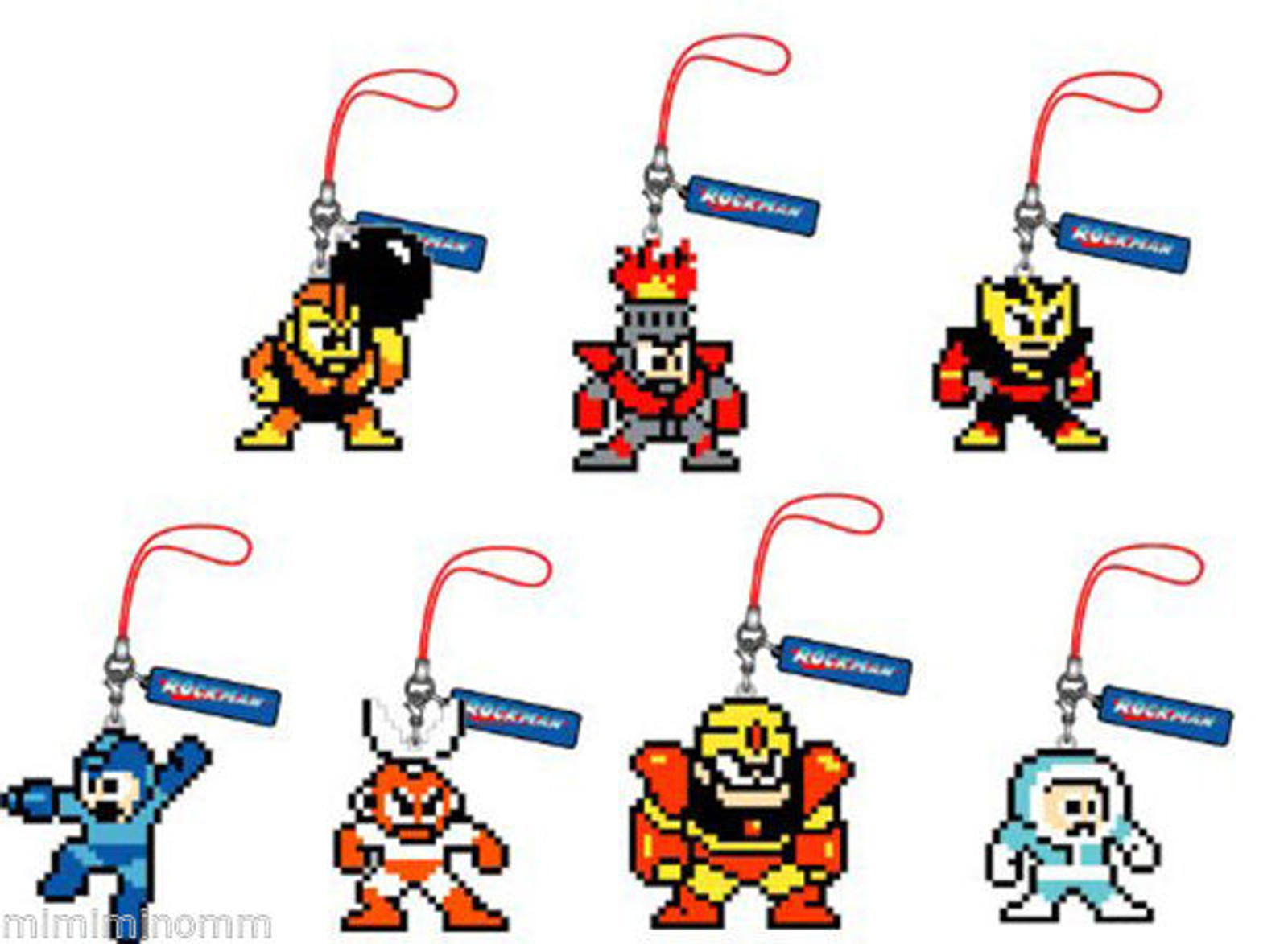 Set of 7 Rockman Megaman Dot Rubber Mobile Strap Collection Vol.2 JAPAN GAME NES